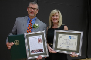 President Neupauer and his wife Tammy with the 2013 Chamber Champion Award at the Celebrate Business Dinner on Wednesday, September 11.