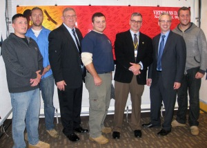 (L to R): Adam Smith, SVA President; Ian Schuelke, SVA Officer, Commander Richard Riley, American Legion Post 778; Jason Brannon, SVA Officer; Nick Neupauer, BC3 President; Case Willoughby, Vice President for Student Services; and Kyle Bodkin, SVA Officer.